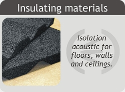 Soundproofing insulation materials for floors, walls and ceilings.