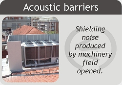 Noise barriers to shield noise from machinery in the open.