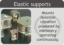 Metal supports - cushions for sound insulation of vibrations caused by machinery in continuous regime.